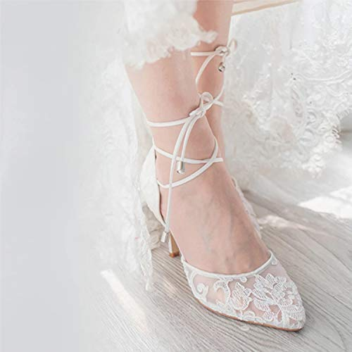 Image of ERIJUNOR E2374 Ivory Lace Mesh Satin Bridal Wedding Shoes Women Comfortable Mid Heel Tie Up Ankle Strap Pointy Toe Pumps Ivory Size 8