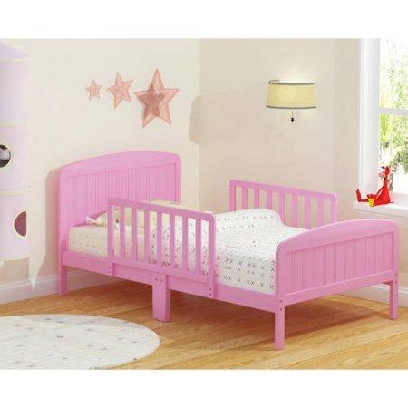 Rack Furniture Russell Children Harrisburg XL Guardrail Wooden Toddler Bed Includes 2 Center Mount Guard Rails, (Pink)