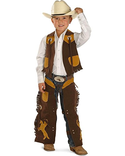M & F Western Boys' Faux Suede Vest And Chaps Set Brown Small - Kid Cowboy Chaps