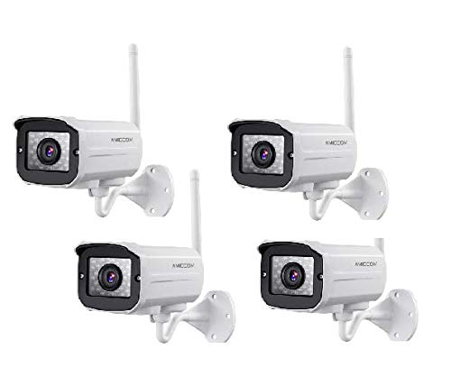 Outdoor WiFi Security Camera- 2 Pack 1080P HD Video Surveillance System – WiFi, Waterproof, IP Night Vision Outdoor Camera with 2-Way Audio and iOS, Android Compatibility (02) (White)