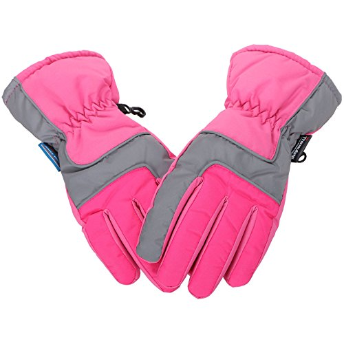(Lullaby Kids Ski Gloves Kids Thinsulate Lined Winter Waterproof Snow Gloves S)
