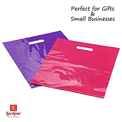 """Merchandise Bags with Die Cut Handles - 12"""" x 15"""" Flat Gift Bags No Gusset 2.0 MIL - Durable Glossy Pink and Purple Plastic Bags - Set of 100 Poly Bags"""