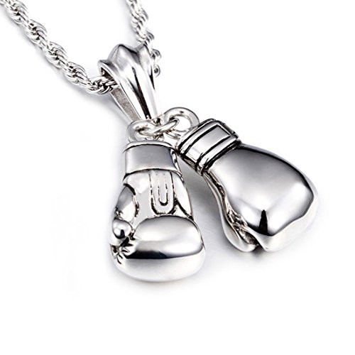 Mens Vintage 316L Stainless Steel Boxing Gloves Pendant Necklace with 24 Inch Twist Rope Chain (Silver)
