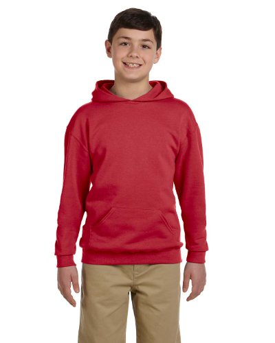 (Jerzees Youth 8 oz, 50/50 NuBlend Fleece Pullover Hood, Small, True RED)
