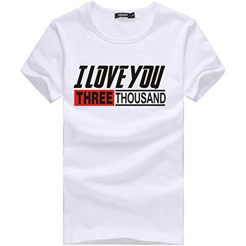 Shirt Men I Love You Three Thousand Times Letter Printed Fashion Tees Short Sleeve Top O-Neck Simple Blouse White L