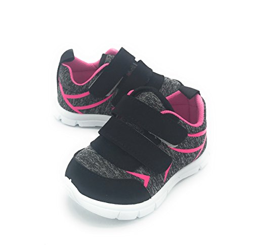 EASY21 Girl Shoes Fashion Comfy Cute Baby Toddler Sneakers (9 M US Toddler, Black1201) -