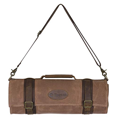 - Chef Knife Roll Bag(10+4 Slots)/Durable Waxed Canvas Knife Carrier/Vintage Full-Grain Belt and Pocket/Professional Chef Shoulder Strap/Knives Not Included