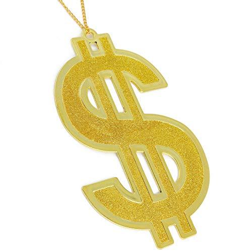 Skeleteen Hip Hop Gold Necklace - Rapper Dollar Sign Medallion Gangster Golden Chain Costume Bling