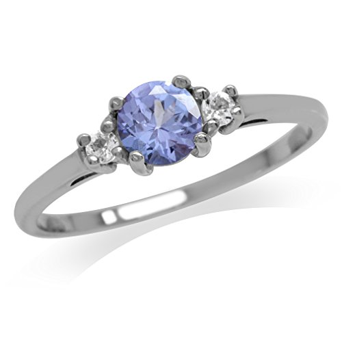 Genuine Tanzanite & White Topaz 925 Sterling Silver Ring Size - Rings Silver Tanzanite