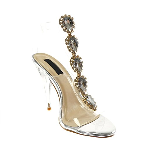 Transparent Angkorly High Heel cm High Ankle 12 Shoes Women's Pump Silver Fashion Shoes Jewelry Sandals Rhinestone Court Strap Cone pPqpRw