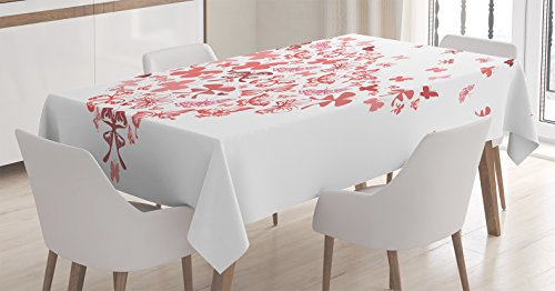 Love Decor Tablecloth by Ambesonne, Butterfly Heart for Valentine Anniversary Celebration Fashion Decorating Art, Dining Room Kitchen Rectangular Table Cover, 60 X 84 Inches