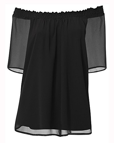 Camicetta Donna ZongSen Blusa Maglietta Mezza Spalle Nero Sexy Manica 2 Scoperte Manica Elegante 1 5SRxdwqAR