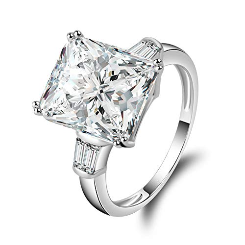 Erllo 5 Carats Square Cut Cubic Zirconia CZ 3 Stone 925 Sterling Silver Engagement Wedding Rings (6.5)