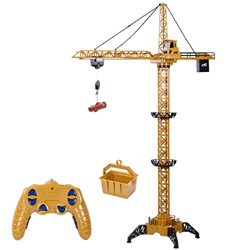 Fistone 6 Channel RC Tower Crane, 50.4 inches 680 Degree Rotation Lift Model 2.4GHz Remote Control Construction Crane Toy with Tower Light and Simulation Sound for Kids