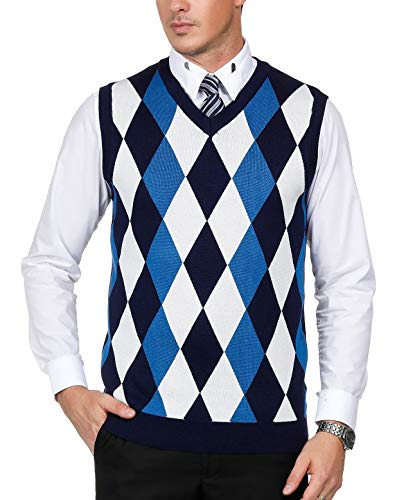 - Men's Classic V-Neck Argyle Sweater Vest Lightweight Pullover Vest Size M Navy