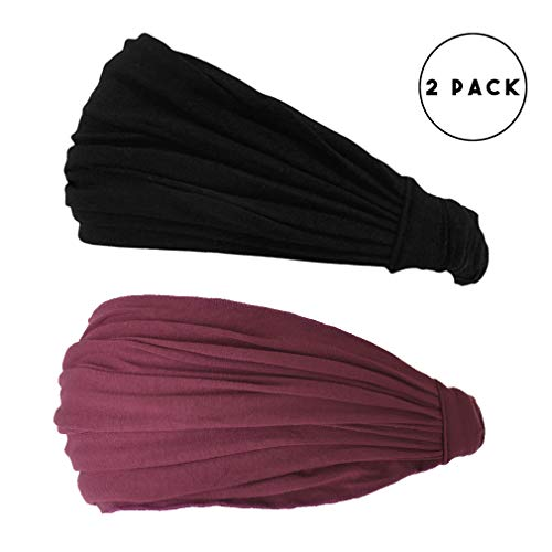 CHARM Black & Maroon 2-Pack Japanese Bandana Headbands for Men and Women – Comfortable Head Bands with Elastic Secure Snug Fit Ideal Runners Fitness Sports Football Tennis Stylish Lightweight M by CCHARM (Image #1)