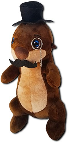 Kimler Cute Fancy Otter Plush with Mustache, Top Hat, and Monocle. Over a Foot Long Stuffed Animal Fancy Otter Plushie