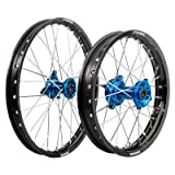 Tusk Impact Complete Front/Rear Wheel Kit with Rim Locks - 1.60 x 14 Front / 1.60 x 12 Rear - Black Rim/Silver Spoke/Blue Hub - Fits KTM 65 SX, Husqvarna TC 65 2016-2019