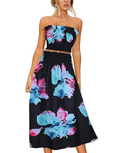 - ULTRANICE Women's Floral Print Tube Crop Top Maxi Skirt Set 2 Piece Outfit Dress(Floral06,M)