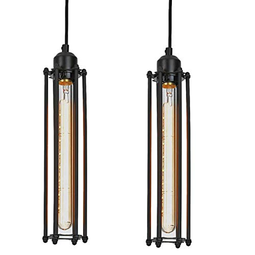 Ivalue Hardwired Pendant Lights Fixture Set of 2 Industrial Edsion Ceiling Hanging Lamps for Kitchen (Pack of 2-S)