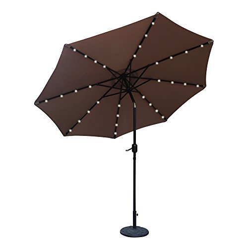 ABCCANOPY 9 FT Solar Powered Patio Umbrella 32LED Lights Solar Umbrella with Tilt and Crank (Tan)