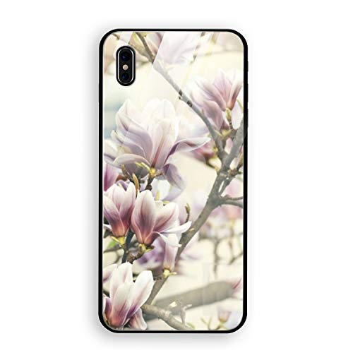 iPhone X Case, Peach Blossoms Bloom Tempered Glass Back Case with Reinforced TPU Bumper Scratch Resistant Hard Back Panel Cover Compatible for iPhone X