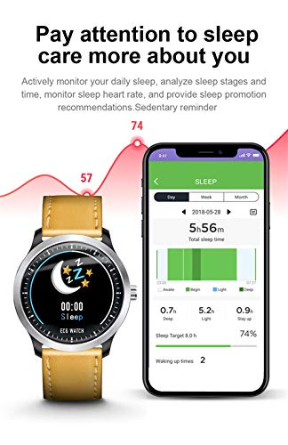 Aobiny Smart Watch,Fitness Tracker N58 1.22Inch ECG Display Blood Pressure Heart Rate Monitor 3D UI Tracker Smart Watch ()