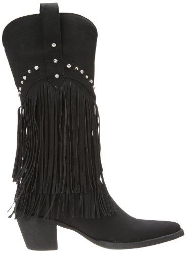 and Stud Crystal Fringe Boot Stud Western Women's Black Roper qwpxgfFn