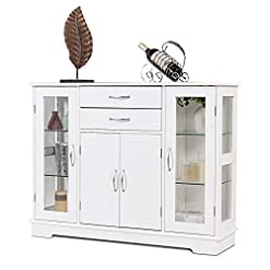 Farmhouse Buffet Sideboards Giantex Sideboard Buffet Server Storage Cabinet W/ 2 Drawers, 3 Cabinets and Glass Doors for Kitchen Dining Room… farmhouse buffet sideboards