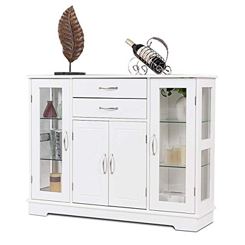 2 Drawer Server - Giantex Sideboard Buffet Server Storage Cabinet W/ 2 Drawers, 3 Cabinets and Glass Doors for Kitchen Dining Room Furniture Entryway Cupboard, Console Table (White)