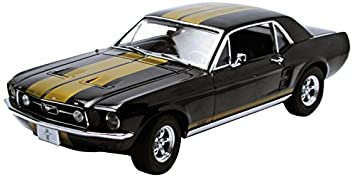 1967 ford mustang coupe black with gold stripes 118 by greenlight 12897