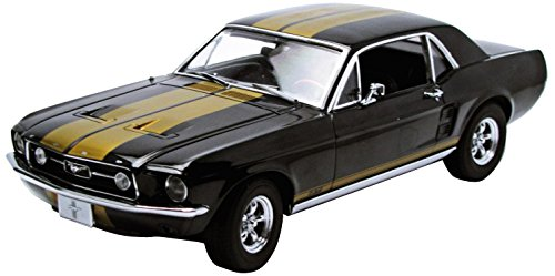 amazoncom 1967 ford mustang coupe black with gold stripes 118 by greenlight 12897 toys games