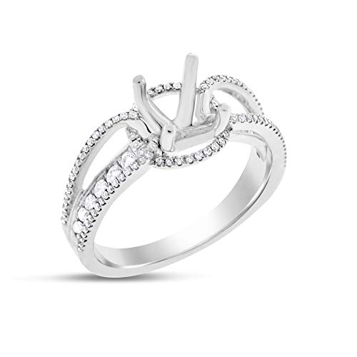 (0.47 Ct. Natural Diamond Micro Pave Set Semi Mount Ring in Solid 18k White Gold)