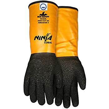 MCR Safety N6464M Ninja Coral Gloves with 10 Gauge Coral Dipped Dyneema/Synthetic and 14