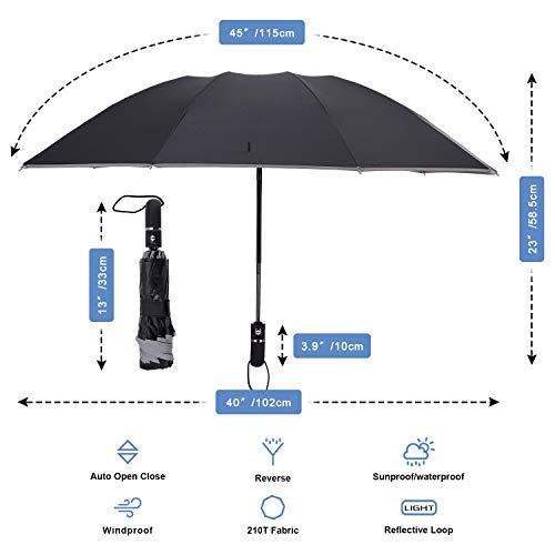 98d695587613 GBU Inverted Umbrella Folding Reverse Umbrella Windproof UV Protection  w/Reflective Stripe - Auto Open Close (Black)