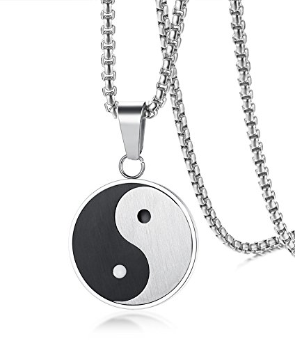 (PJ Jewelry Mens Stainless Steel Yin Yang Amulet Pendant Chinese Taoism Symbol Talisman Charm Necklace)