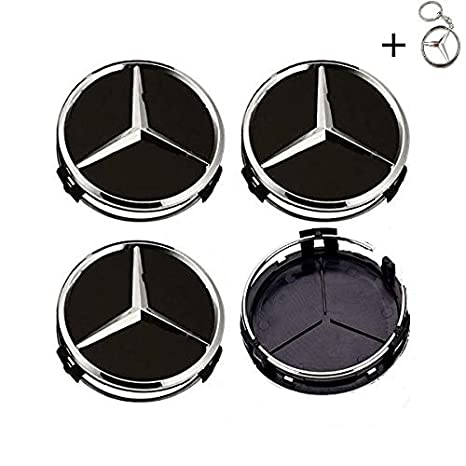 Tapacubos Mercedes 75mm Tapas Rueda Central,1 Llavero de Regalo Incluido,para Llantas de aleacion Clase E Clase C Cl CLS SLK ML GLK Clase A Clase B ...