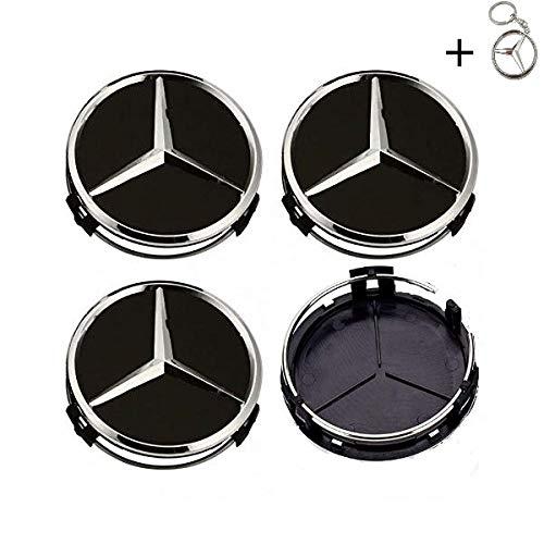 Tapacubos Mercedes 75mm Tapas Rueda Central,1 Llavero de Regalo Incluido,para Llantas de aleacion Clase E Clase C Cl CLS SLK ML GLK Clase A Clase B Amg: ...