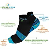 Lumino Cielo Low-Cut STRONG Compression Sports Socks for Runners, Marathoners, Walkers. Get Pain Relief from Heel Pain, Plantar Fasciitis (L/XL, Blue/Black)