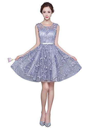 24b4ebb3542 Drasawee Elegant Short Lace Prom Party Dress Cocktail Evening Gowns for  Teen Girls Grey US0