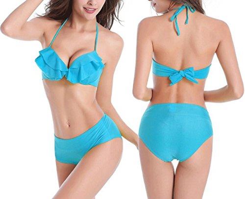 Traje de baño de moda bikini partido de una pieza traje de baño bikini playa traje de baño de spa traje de baño ( Color : Azul , Tamaño : XL )