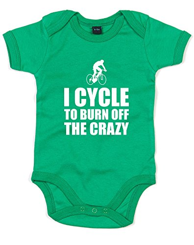 Brand88 I Cycle To Burn Off The Crazy, Printed Baby Grow - Kelly Green/White 12-18 - Gb Triathlon