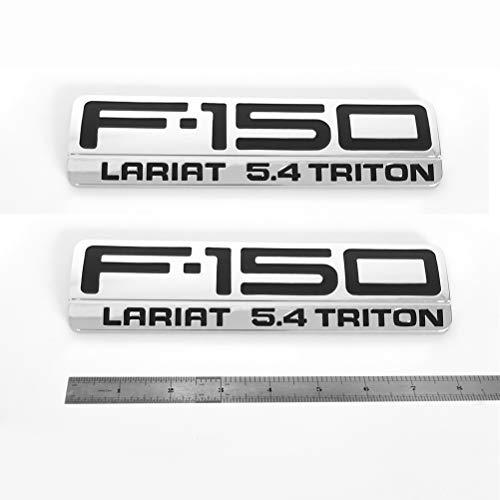 - 2pcs OEM F-150 Lariat 5.4 Triton Side Fender Emblems 3D Logo Badges Pair New Replacement for F150 Chrome Black