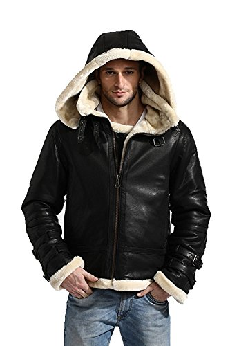 B3 Bomber Shearling Removable Hood Real Leather Jacket Hoodie (3XL) (B3 Shearling Bomber)
