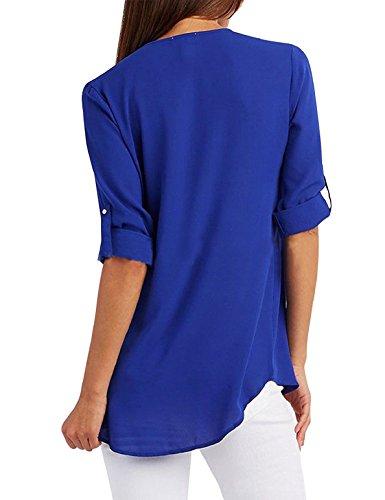 Mousseline Zipp Blouse Femme Suelto Bleu Col Blouse Ajustable V Tuopuda Manga Chemisier Top Occasionnels Chemise qtYx4