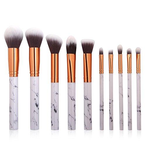 Luxsea Professnial Women Makeup Brushes Extremely Soft Makeup Brush Set 10pcs Foundation Powder Brush Marble Make Up Tools (Powder Copper Foundation)