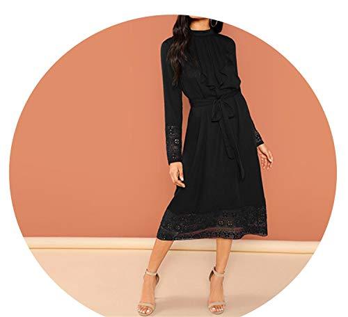 Black Elegant Pleated Ruffle Trim Contrast Lace Stand Collar Trim Dress 2018 Women ()