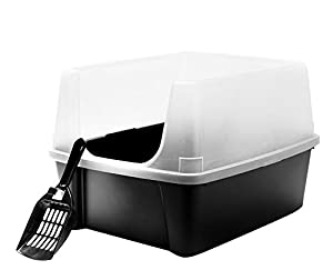 IRIS Open Top Cat Litter Box Kit with Shield and Scoop, Black 2-Pack from IRIS USA, Inc.