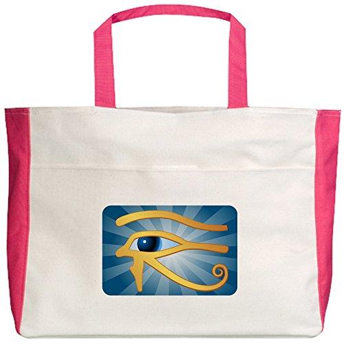 royal-lion-beach-tote-2-sided-egyptian-gold-eye-of-horus-fuchsia