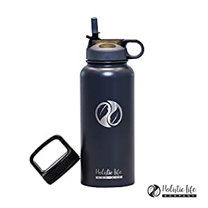 Holistic Flask (32 oz., Gray) - Stainless Steel Hydroflask Water Bottle Double Walled/Vacuum Insulated - BPA/Toxin Free – Wide Mouth with 2 Lids (Straw Lid, Carabiner Lid) 32 oz. - 40oz.